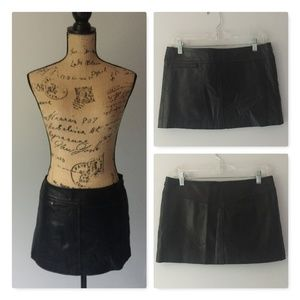 BCBGMaxazria 100% Leather Mini Skirt Black Sz 8